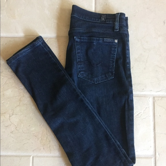 "7 For All Mankind Denim - Dark ""Roxanne"" Skinny Jeans"